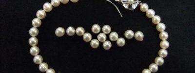 切れた真珠ネックレスを生かしてリフォーム
